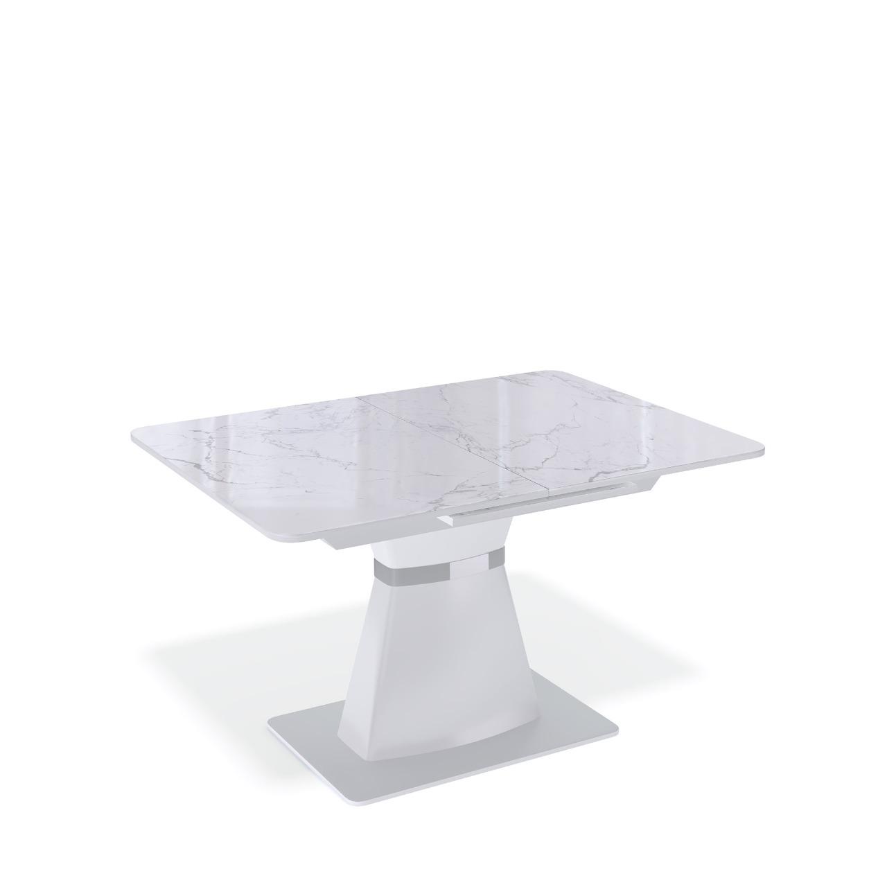 Стол Kenner BS1200 белый/стекло камень белый